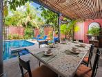Charming villa- across from beach, customer kitchen, private pool, gas grill