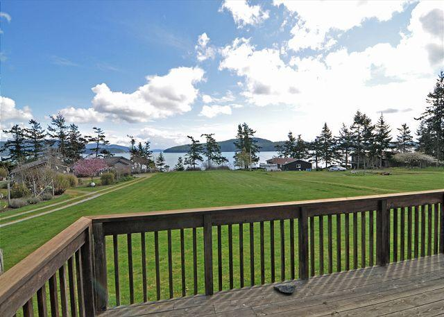 What a spot for croquet and badminton! Trail to the left leads to the beach. - Island Views on Lopez - Lopez Island - rentals