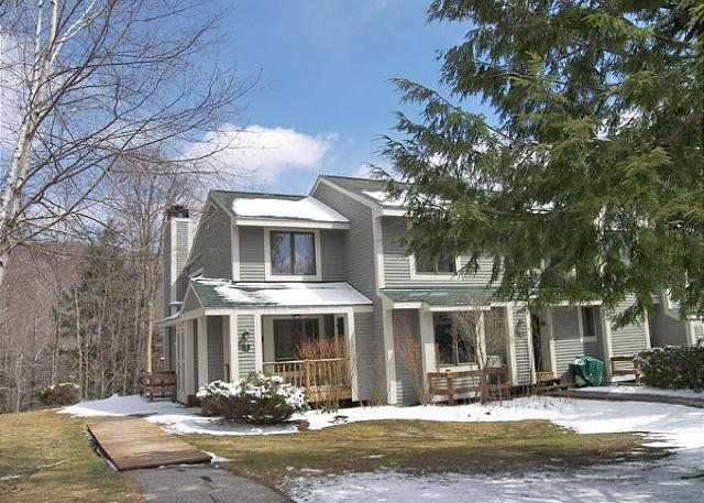 Exterior of Unit in Early Spring - F1801- Managed by Loon Reservation Service - NH M&R:056365/Business ID:659647 - Lincoln - rentals