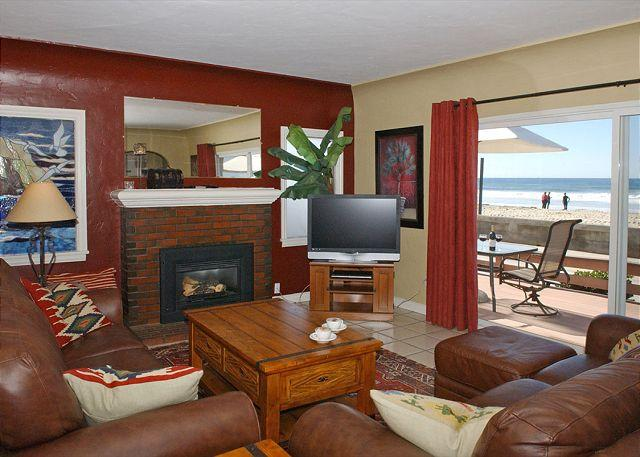 3667 Ocean Front Walk Living Room - Traditional Spanish style home-fireplace, wraparound deck, hot tub, fire ring - Pacific Beach - rentals