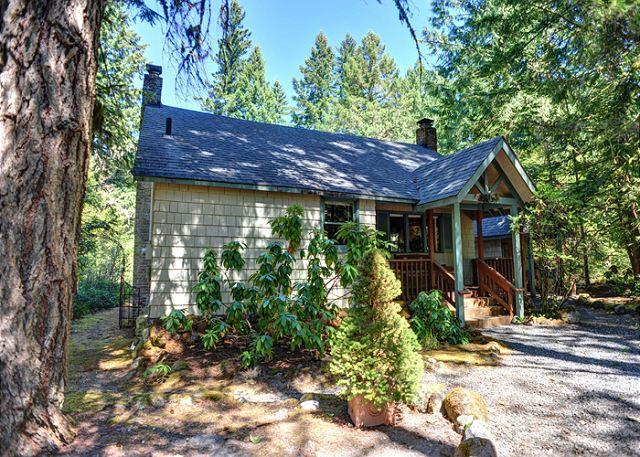 Pine River Cabin along the Sandy River in Wildwood, Oregon - Pine River Cabin is a cozy, riverfront cabin, fireplace, hot tub. Dogs ok. - Brightwood - rentals