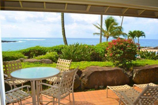 lanai  - Free Car* with Whalers Cove 212 - Beautiful oceanfront 2B/2B condo sleeps 6! Heated Pool. - Poipu - rentals