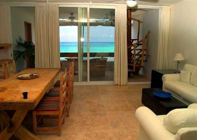 Rusitc Dining/Living area with beautiful view! - Beachfront on San Francisco Beach, Rooftop Balcony, Brilliant Ocean View - Cozumel - rentals