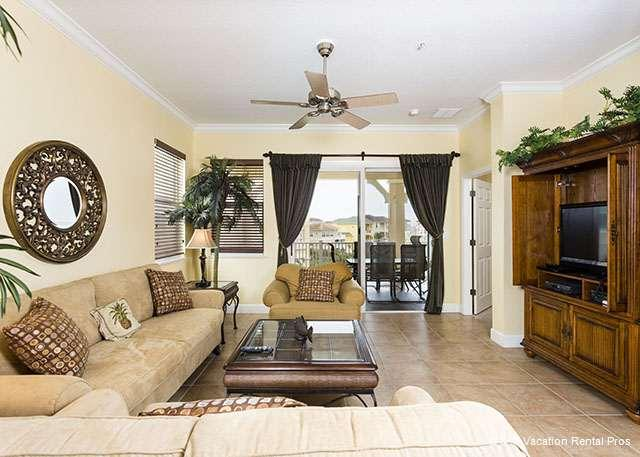 Living room is bright and sunny - 241 Cinnamon Beach Ocean Views, 4th Floor Corner, HDTV, Ocean - Palm Coast - rentals