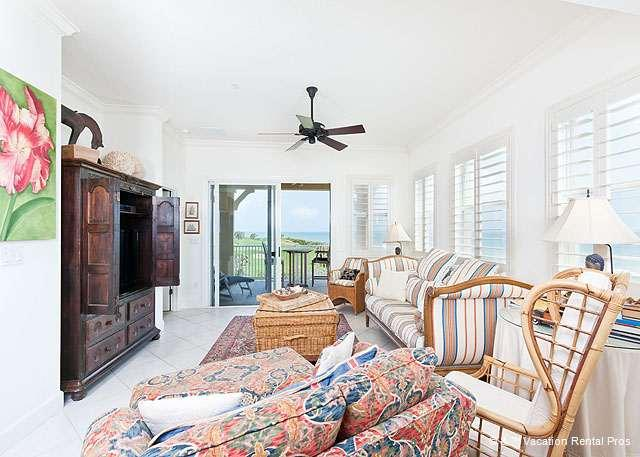Sink into our comfy, island-inspired living room - 435 Cinnamon Beach, Ocean Front Corner, 3rd Floor Clear Favorite - Palm Coast - rentals