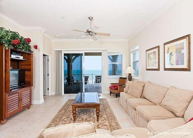 Pile on our plush 16' sectional for movie night on our HDTV! - 845 Cinnamon Beach, , 4th Floor Ocean Front, Corner Condo, HDTV - Palm Coast - rentals