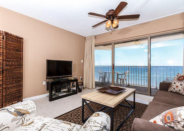 This elegant living area has a beautiful beachfront view. - ETW 5006: UPDATED beachfront condo-WiFi,Free Beach Service,Great Views - Fort Walton Beach - rentals