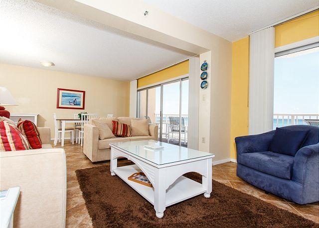Living Room - #201: Spacious gulf front condo- WiFi,BBQ,FREE BEACH SERVICE & MOVIES-BOOKNOW - Fort Walton Beach - rentals