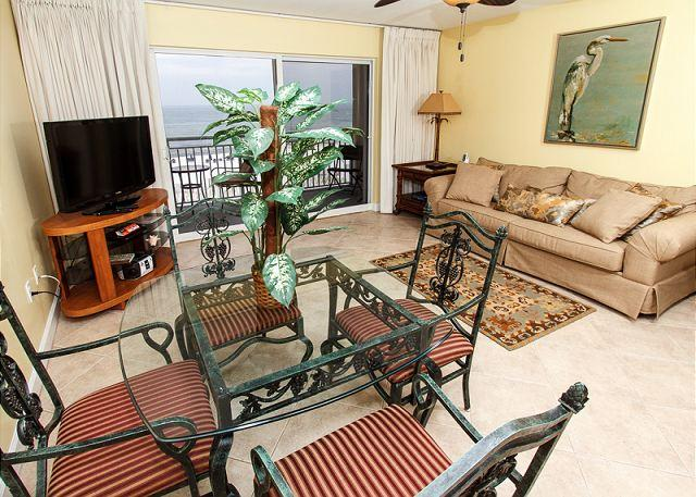 Enjoy the views from the newly remodeled beach front living room - PI 315:UPDATED June 2013 BEACH FRONT-WIFI, pool, BBQ area, Free Beach Svc - Fort Walton Beach - rentals