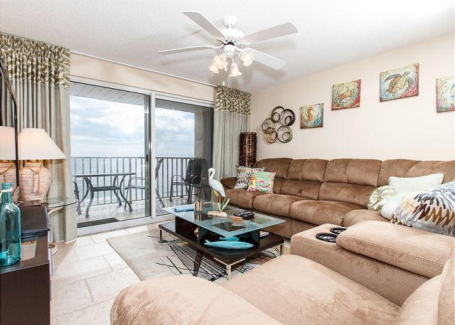 Beach front living room with the MOST comfy couch - TP 504: UPDATED ,new furnishings, 3 flat screen TVs,AMAZING!!!! - Fort Walton Beach - rentals