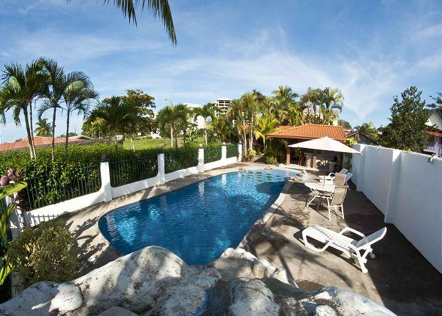 Large pool with waterfall and sloped entrance - Villa w/3 bungalows, walk to beach, Pool, gazebo, BBQ, WiFi, AC, sleeps 4- 9 - Jaco - rentals