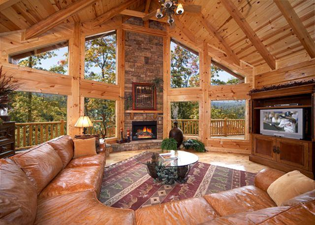 Enjoy mountain views in this huge 4 bedroom true log cabin in Gatlinburg - Image 1 - Gatlinburg - rentals