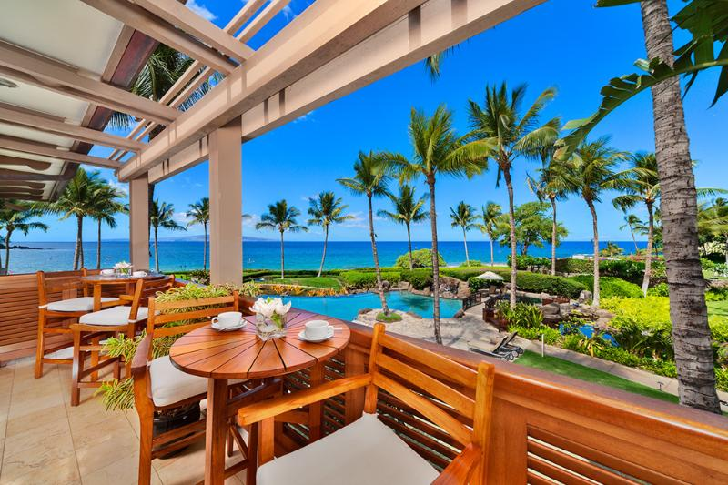 A Pacific Ocean View Looking Directly Over The Adult Pool and Hot Tub From the Private Veranda Off the A201 Royal Ilima Master Bath - Royal Ilima A201 Wailea Beach Villas - Wailea - rentals