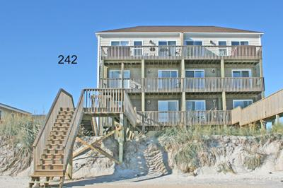Oceanside of south side of duplex - 242 Sea Shore Drive - North Topsail Beach - rentals