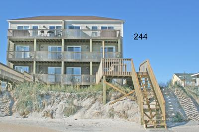Oceanside view of north side of duplex - 244 Sea Shore Drive - North Topsail Beach - rentals