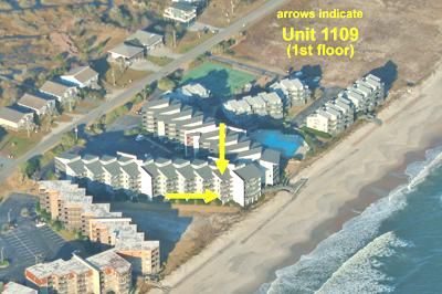 Aerial view showing location of unit in complex - Shipwatch 1109 - North Topsail Beach - rentals
