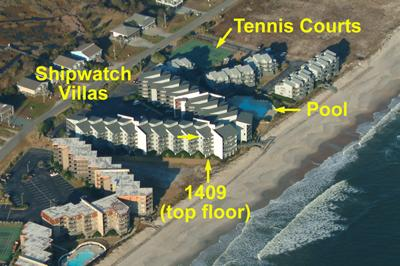Aerial view showing location in complex - Shipwatch 1409 - North Topsail Beach - rentals