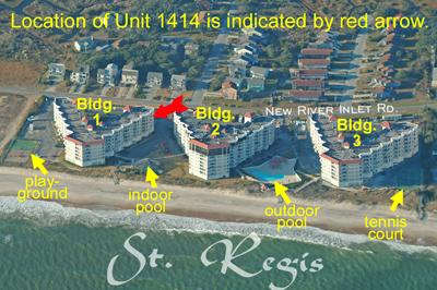 Aerial photo of St. Regis showing Unit 1414 - St. Regis 1414 - North Topsail Beach - rentals