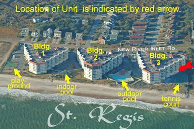 Aerial photo showing location of Unit 3012 - St. Regis 3012 - North Topsail Beach - rentals