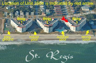 Aerial photo of St. Regis showing Unit 3504 - St. Regis 3504 - North Topsail Beach - rentals
