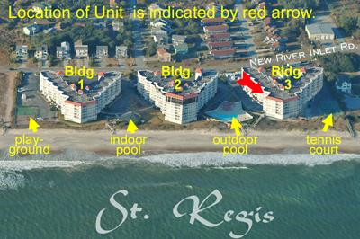 Aerial photo showing location of Unit 3506 - St. Regis 3506 - North Topsail Beach - rentals