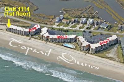 Aerial photo showing location of Unit 1114 - Topsail Dunes 1114 - North Topsail Beach - rentals