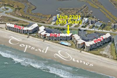 Aerial photo Topsail Dunes showing Unit 2301 - Topsail Dunes 2301 - North Topsail Beach - rentals