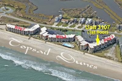 Aerial photo of Topsail Dunes showing Unit 3701 - Topsail Dunes 3107 - North Topsail Beach - rentals