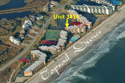 Aerial photo of Topsail Dunes showing Unit 3414 - Topsail Dunes 3414 - North Topsail Beach - rentals