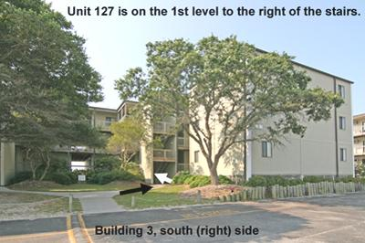 Streetside view of Bldg. 3 showing way to Unit 127 - Topsail Reef 127 - BLD 3 - North Topsail Beach - rentals