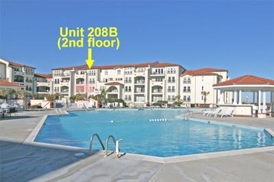 View of south side of Unit 208B from across pool - Villa Capriani 208 B - North Topsail Beach - rentals