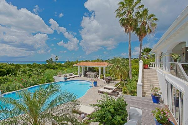 Enjoy ocean views, a huge covered terrace and large pool at your leisure. C FWI - Image 1 - Terres Basses - rentals