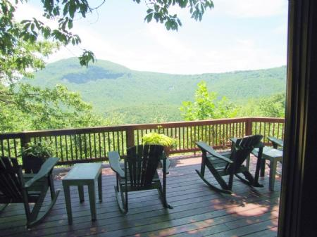 Deck with Furniture and Forever Views - Cliff Ridge View - Cashiers - rentals