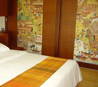 Bedroom - King size bed (183cm/6') - 1 bed corner apartment,ringside river view,WiFi - Bangkok - rentals