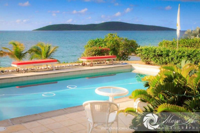 Pool at sunset. - Beachfront house dock pool privacy luxury - Christiansted - rentals