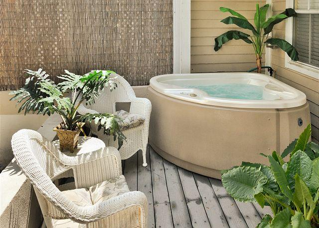 Private Jacuzzi on Private, Furnished Patio - Casa Caribe- Beautiful Duval Square Condo w/ Pvt Hot Tub - Key West - rentals