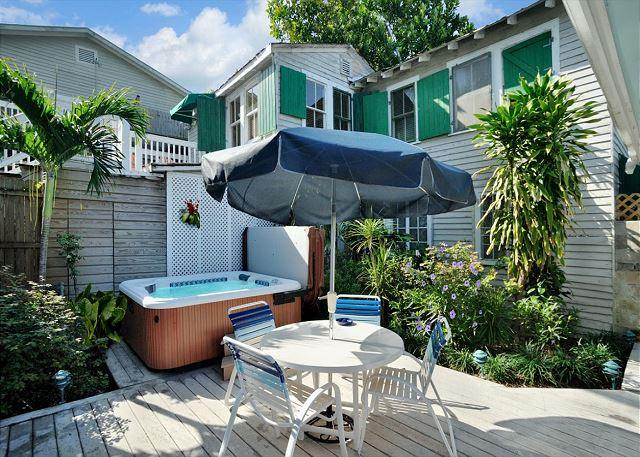 Private Deck With 6 Person Hot Tub and Patio Furniture - Family House - Stunning 'Old Town' Home - 1 Block To Duval - Private Hot Tub - Key West - rentals
