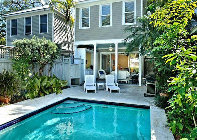 Private Heated Pool With Loungers and Outdoor Sitting / Eating A - Island Oasis - Luxury 2 BR 2 Bath Townhome w/ Pvt Heated Pool & Pvt Parking - Key West - rentals