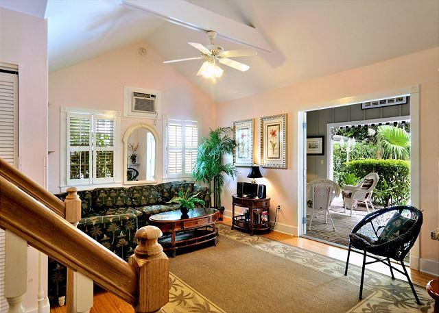 """Spacious Living Area With Queen Sleeper Sofa - """"KEY WEST HIDEAWAY"""" Sleeps Up To 10 - Private Patio - Half Block To Duval! - Key West - rentals"""