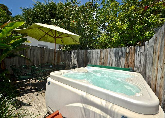 Private Hot Tub and Deck Area With Patio Furniture - LEEWARD ISLE - Private Hot Tub - Private Parking - 1/2 Block To Duval St. - Key West - rentals