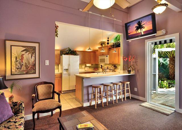View of Kitchen From Living Area Beautifully Decorated and inclu - Sunset Suite - Romantic Getaway for 2 - Private Hot Tub - 1/2 Block To Duval - Key West - rentals