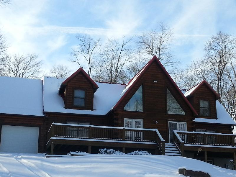 Exterior - Winter - Rich Log Cabin, private; Oakland,WISP, Deep Creek - Oakland - rentals