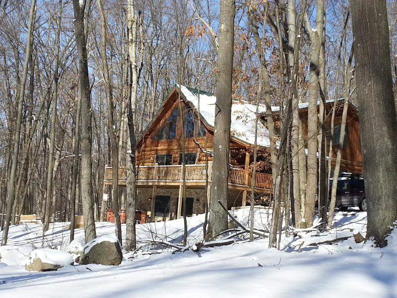 exterior winter - It's All Good at Deep Creek Lake -** Log Cabin** - Swanton - rentals