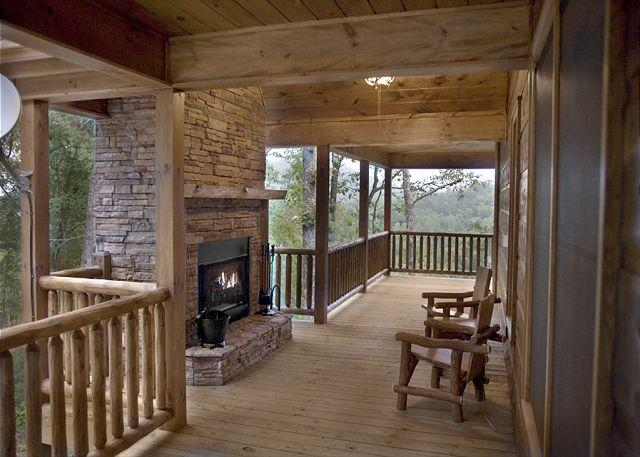 FIREPLACE DECK - Luxury Log Home with Outdoor Woodburning fireplace and much more. - Cherry Log - rentals