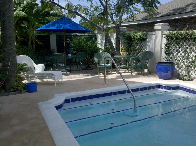 """Pool Area with lounges, table & chairs - """"The Fiddler"""" Sleeps 2 or 4, walk to beach & pool - Tybee Island - rentals"""