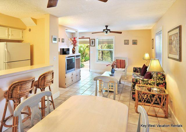 Dining Room / Kitchen Bar Area Looking Through to Living Room an - ''ABACO SUITE'' - Beautiful 2-Story Home in Amazing Location w/ Shared Pool - Key West - rentals