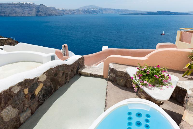 Caldera view from the patio - GREEK PARADISE, outdoor Hot Tub, Caldera panorama! - Oia - rentals