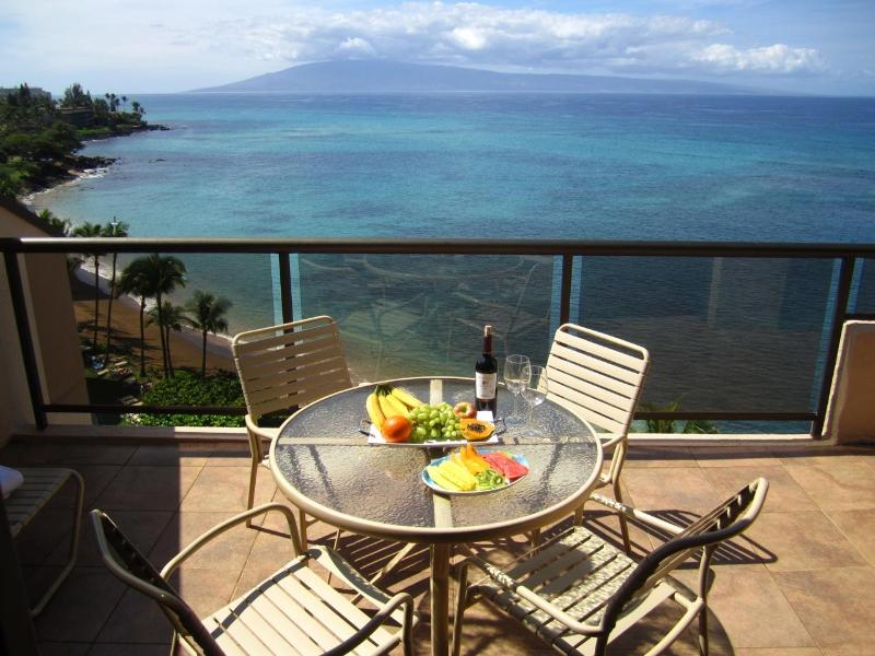 View from the main lanai - it runs the entre length of the condo! - Gorgeous Oceanfrnt Penthouse, Huge!, Wifi, Spatub! - Lahaina - rentals