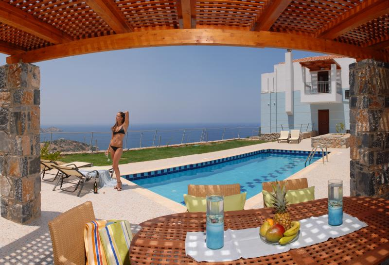 This is the view from the deck-veranda - Villa: Breakfast, Pr. pool w Jacuzzi, Sauna-Gym - Rethymnon Prefecture - rentals
