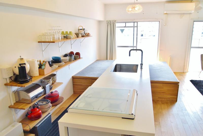 Fully Equipped Kitchen - Riverside Designer family Apt nr Namba, Dotonbori - Osaka - rentals